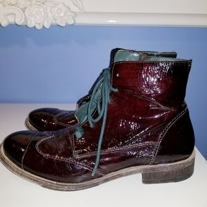 Dark burgundy patent leather boots by Bed Stu